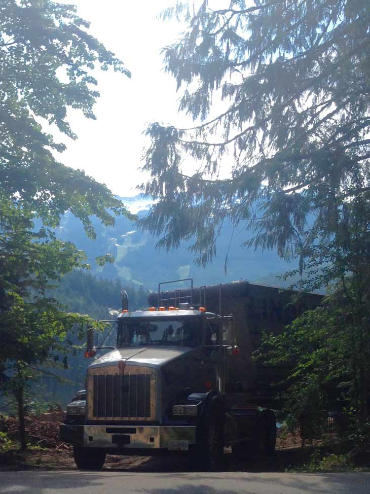 hauling brush in Whistler